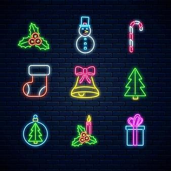 Рождественские неоновые символы. с новым годом коллекция икон в неоновом стиле. рождественский зимний знак.