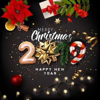 Christmas and new year 2019 creative background