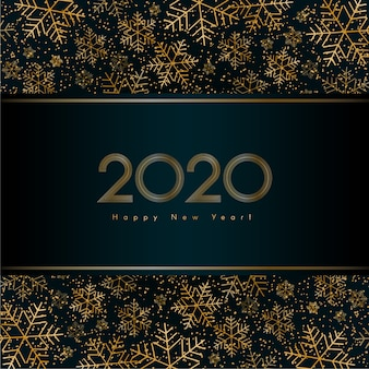 Christmas new year 2020 luxury banner with gold snowflake glitter vector