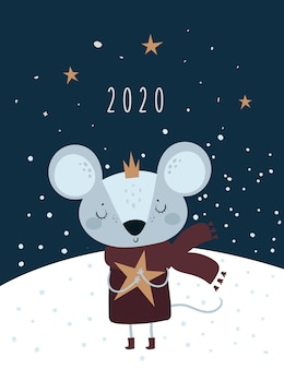 Christmas new year 2020. rat, mouse, mice, baby princess in crown