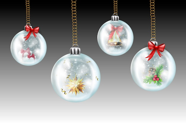 Christmas and new year are coming. glass transparent christmas ball , hang on the christmas tree on a winter snowy background. winter landscape background with falling snow, spruce forest silhouette