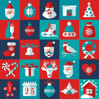 Christmas and new year background icons set. scandinavian style.