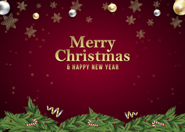 Christmas and new year background poste social media post advertisement for invitation event on red
