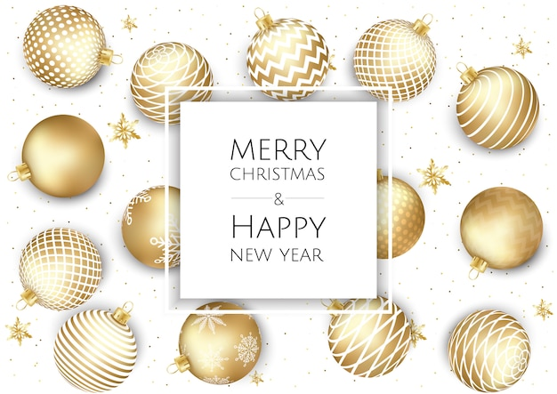 Christmas and new year background with gold balls, xmas card