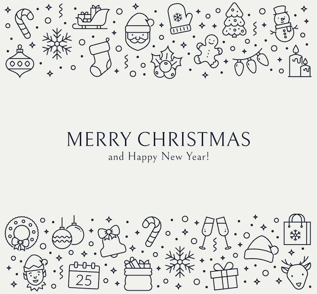 Christmas and new year background with outline icons