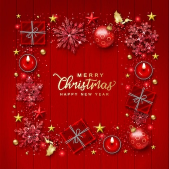 Christmas and new year background with realistic christmas decorations