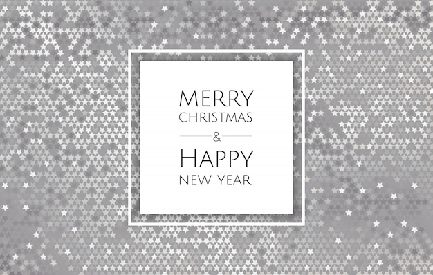 Christmas and new year background with silver glitter texture, xmas card
