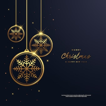 Christmas and new year background with snowflake gold