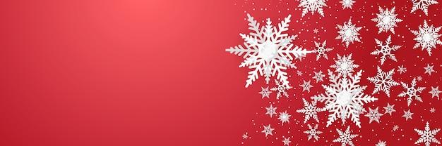 종이 스타일 개념에 눈송이 장식으로 크리스마스 새 해 배경