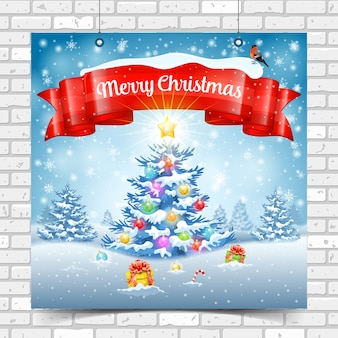 Christmas and new year background with tree, gifts, ribbon, snowflakes and bullfinch. merry christmas poster on brick wall texture.  template for flyer, greeting card