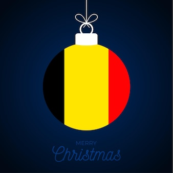 Christmas new year ball with belgium flag. greeting card vector illustration. merry christmas ball with flag isolated on white background