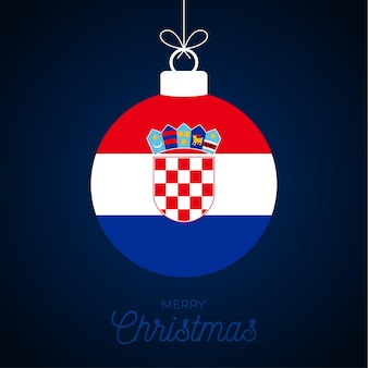 Christmas new year ball with croatia flag. greeting card vector illustration. merry christmas ball with flag isolated on white background