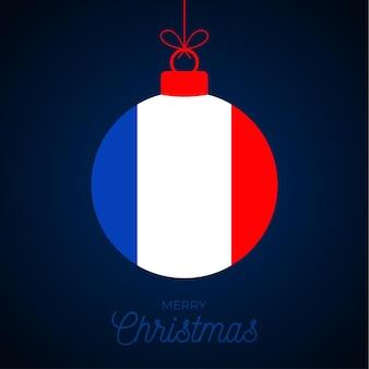 Рождественский новогодний бал с флагом франции. открытка векторные иллюстрации. веселый рождественский бал с флагом, изолированные на белом фоне