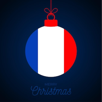 Christmas new year ball with france flag. greeting card vector illustration. merry christmas ball with flag isolated on white background