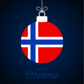 ノルウェーの旗とクリスマスの新年のボール。グリーティングカードベクトルイラスト。白い背景で隔離の旗とメリークリスマスボール