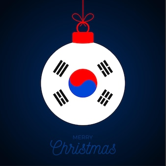Christmas new year ball with south korea flag. greeting card vector illustration. merry christmas ball with flag isolated on white background