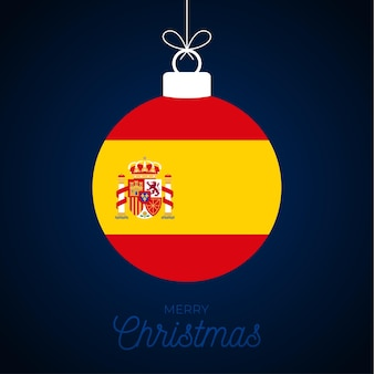 Christmas new year ball with spain flag. greeting card vector illustration. merry christmas ball with flag isolated on white background