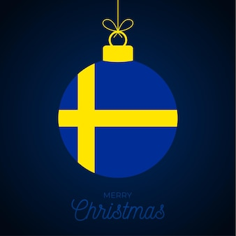 스웨덴 국기와 함께 크리스마스 새 해 공입니다. 인사말 카드 벡터 일러스트 레이 션. 흰색 배경에 고립 된 플래그와 함께 메리 크리스마스 공