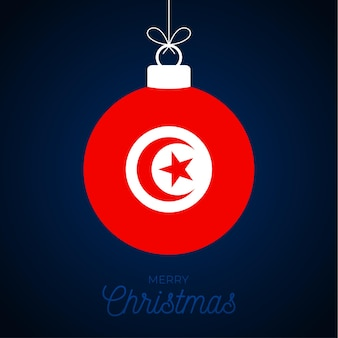 튀니지 플래그와 함께 크리스마스 새 해 공입니다. 인사말 카드 벡터 일러스트 레이 션. 흰색 배경에 고립 된 플래그와 함께 메리 크리스마스 공