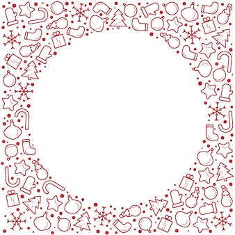 Christmas new year banner illustration. frame