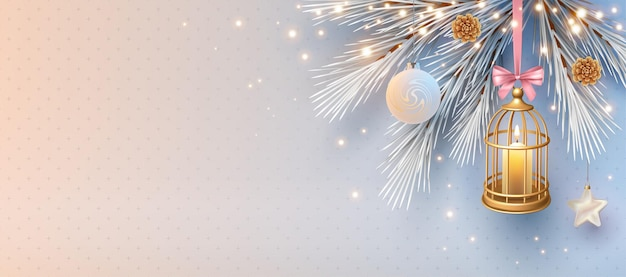 Christmas and new year banner with decorative cage