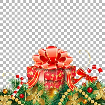 Christmas and new year banner with gift, fir branches, gold streamer and candy. vector illustration on transparent background