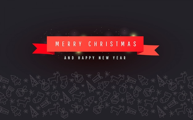 Christmas and new year banner with red ribbon, christmas line ornament on dark background