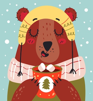 Christmas and new year bear character drinking hot cacao at winter card vector flat graphic design