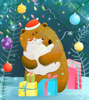 Christmas or new year bear and cub greeting card