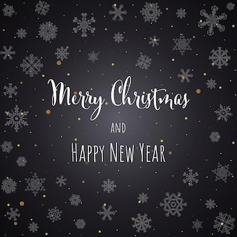 Christmas and new year black background greeting card with lettering. vector illustration