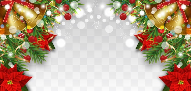 Christmas and new year border decorations with fir branches, golden bells, christmas flowers poinsettia and holly berries. design element for xmas greeting card on transparent background.