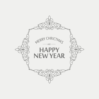 Christmas and new year card in monochrome style