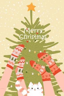 靴下猫と木とクリスマス年賀状ポスター漫画冬の木と足テンプレート