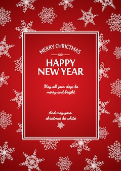 Christmas and new year card with calligraphic inscription in rectangular frame and white snowflakes on red