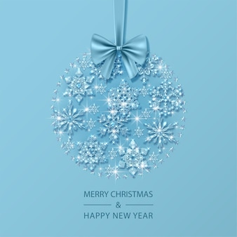 Christmas and new year card with christmas ball composed of glass crystal snowflakes