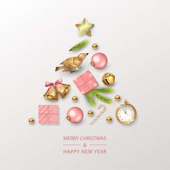 Christmas and new year card with christmas tree composed of festive decorations