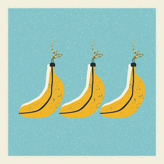 Christmas and new year card with christmas tree decorations in the form of bananas in vector.