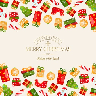 Christmas and new year card with greeting golden inscription