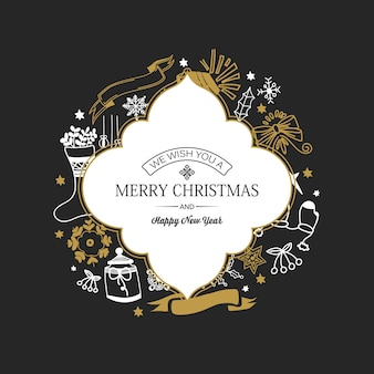 Christmas and new year card with inscription in frame and hand drawn traditional symbols on dark