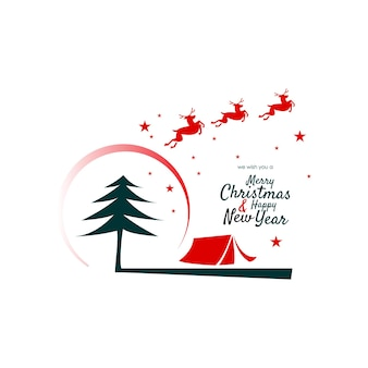 Christmas and new year card with outdoor camp illustration