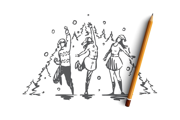 Christmas, new year, celebrating with friends  concept. group of friends celebrating holiday and having fun together. hand drawn sketch  illustration