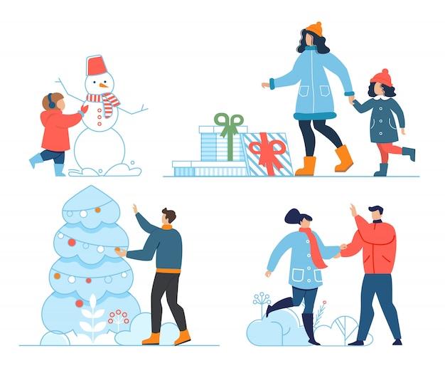 Christmas, new year celebration and pastime set