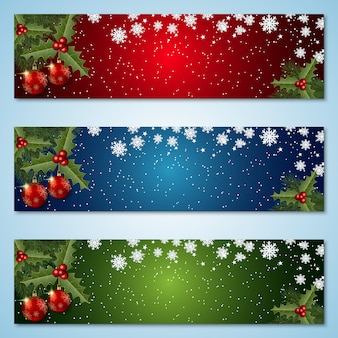 Christmas and new year colorful banners