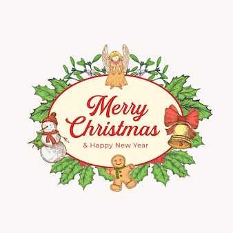 Christmas and new year colorful greeting card with oval frame banner and cute typography. season holiday greetings label or sticker layout with hand drawn angel, holly and snowman. isolated.