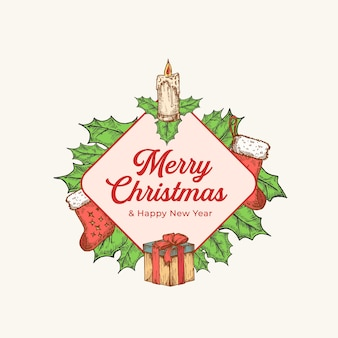 Christmas and new year colorful greeting card with rhombus frame banner and cute typography. season holiday greetings label or sticker layout with hand drawn candle, holly and gifts socks. isolated