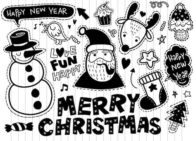 Christmas, new year cute symbols sticker set: patches of santa claus