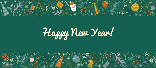 Christmas and new year decoration border. winter holiday vector background. 2021 new year ornament.