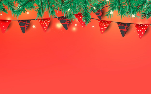 Christmas or new year decorative elements. red garland flags, glitter confetti and pine branches with place for text.