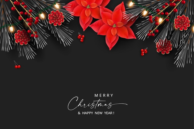 Christmas and new year elegant banner with red flowers and christmas decorations