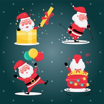 Christmas and new year festive collection feature picture set of santa claus with gift, and balloon on a light blue background